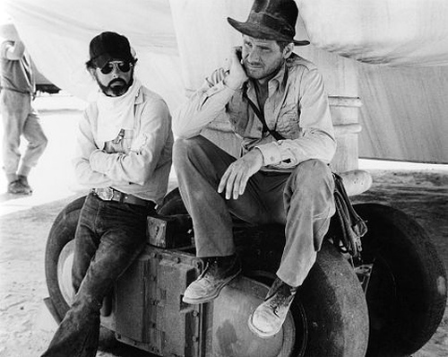 George Lucas And Harrison Ford On The Set Of Raiders Of -3680