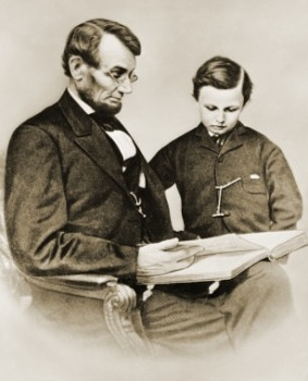 Abraham Lincoln with his son, Tad