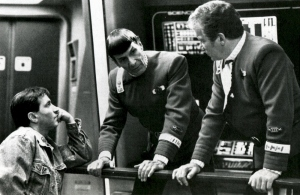 Nicholas Meyer, Leonard Nimoy, and William Shatner on the set of Star Trek II: The Wrath of Khan