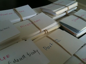 Scene cards on the author's desk