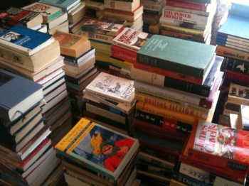 The author's library, temporarily unshelved