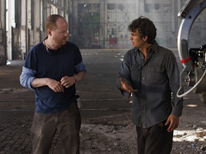 Joss Whedon and Mark Ruffalo on the set of The Avengers