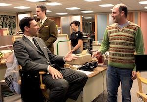 Jon Hamm and Matthew Weiner on the set of Mad Men