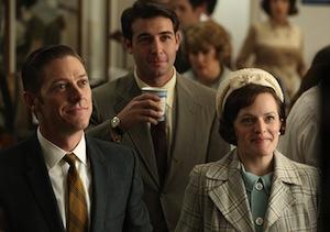 Kevin Rahm, James Wolk, and Elizabeth Moss on Mad Men