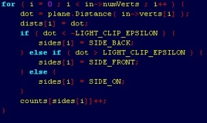 A snippet of source code from Doom 3