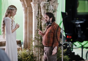 Cate Blanchett and Peter Jackson on the set of The Hobbit