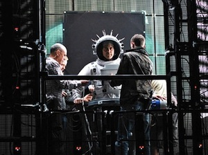George Clooney on the set of Gravity