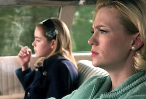 Kiernan Shipka and January Jones on Mad Men