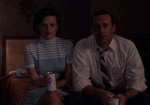 Elizabeth Moss and Jon Hamm on Mad Men