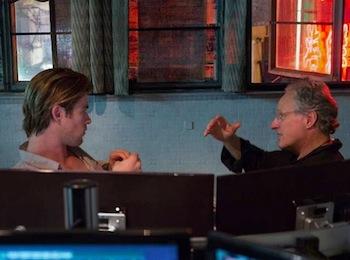 Chris Hemsworth and Michael Mann on the set of Blackhat