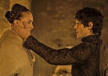 Sophie Turner and Iwan Rheon on Game of Thrones