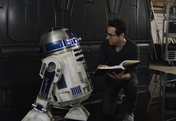 R2-D2 and J.J. Abrams on the set of The Force Awakens