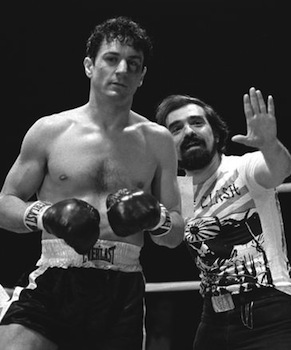 Robert De Niro and Martin Scorsese on the set of Raging Bull