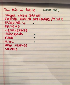 Track listing for Kanye West's The Life of Pablo
