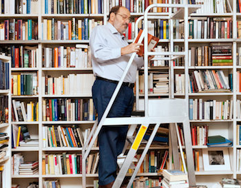 Umberto Eco in his library