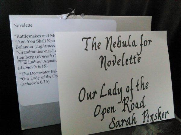 The envelope for the Nebula Award for Best Novelette