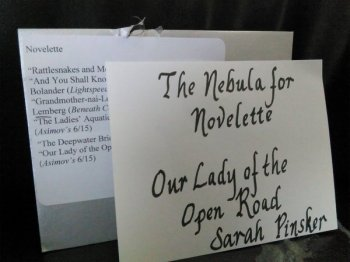 The envelope for the Nebula Award for Best Novelette
