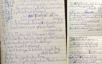 "Lin-Manuel Miranda's drafts of ""My Shot"""