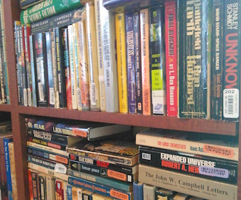 The author's bookshelf