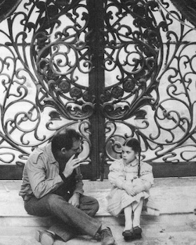 Walter Murch and Fairuza Balk on the set of Return to Oz