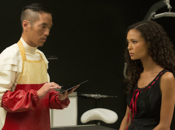 Leonardo Nam and Thandie Newton on Westworld