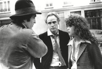 Bernardo Bertoclucci, Marlon Brando, and Maria Schneider on the set of Last Tango in Paris
