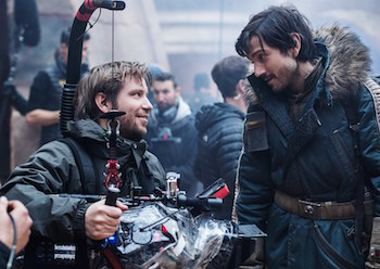 Gareth Edwards and Diego Luna on the set of Rogue One