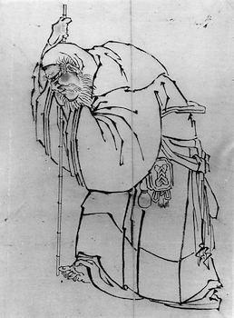 Hermit With a Staff by Katsushika Hokusai