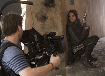 Gareth Edwards and Felicity Jones on the set of Rogue One