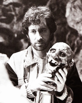 Steven Spielberg on the set of Indiana Jones and the Temple of Doom